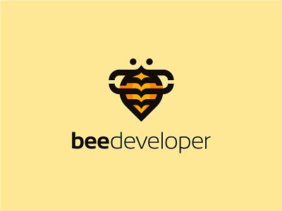BeeDeveloper it software developer brackets code bee animal symbol mark logo