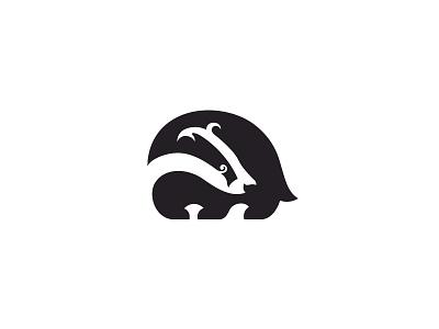 Badger negative space badger animal symbol mark logo