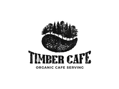 Timber Cafe rustic organic coffee bean timber wood forest cafe coffee illustration symbol mark logo