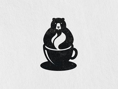 Coffee Bear cup coffee cup steam hot cafe coffee bear animal symbol mark logo