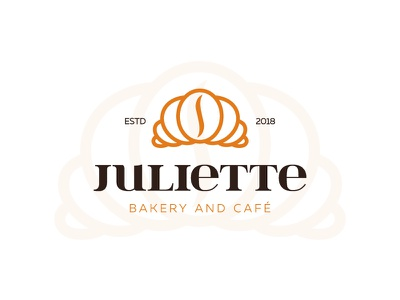 Juliette coffeebean pastry croissant bakery cafe coffee symbol mark logo