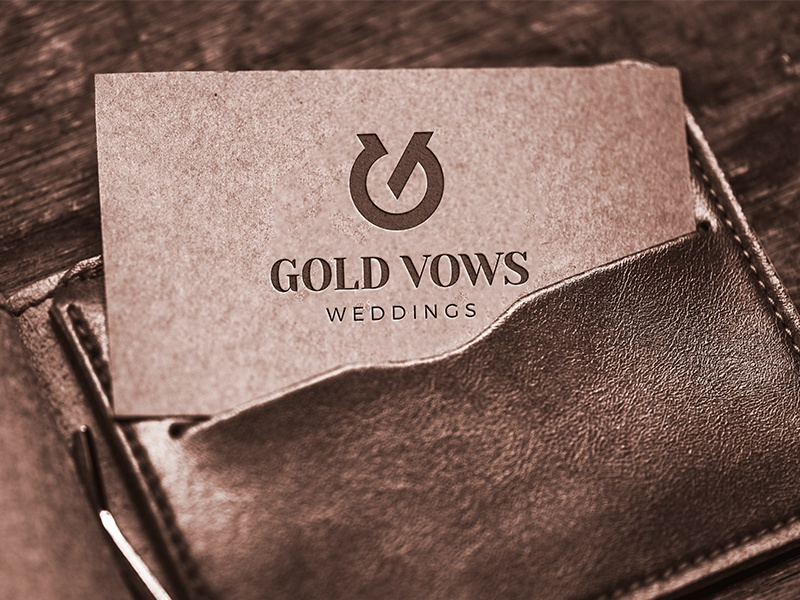 Gold Vows business cards vows wedding monogram gv vintage symbol mark logo