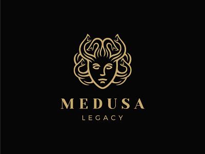 Medusa mythology snake medusa head portrait man illustration logo