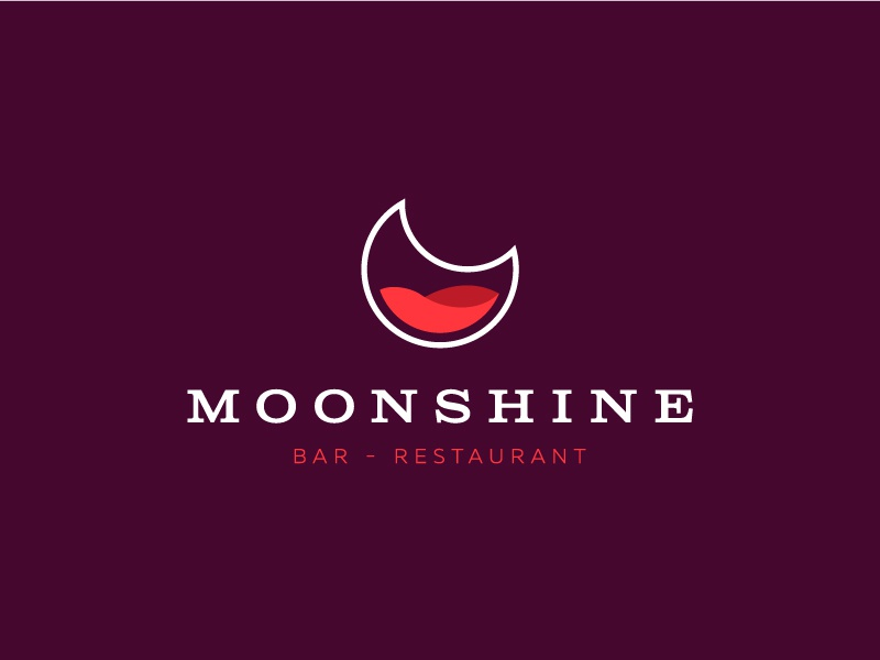Moonshine identity branding beverage liquor restaurant bar moonshine moon symbol mark logo