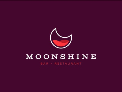 Moonshine identity branding beverage liquor restaurant bar moonshine moon symbol mark logo