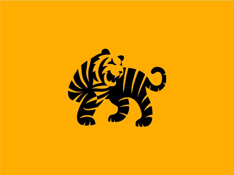 Tiger negative space tiger animal symbol mark logo