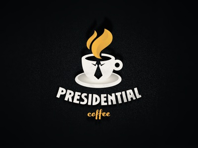 Presidential Caffee haircut tie cup president coffee symbol mark logo