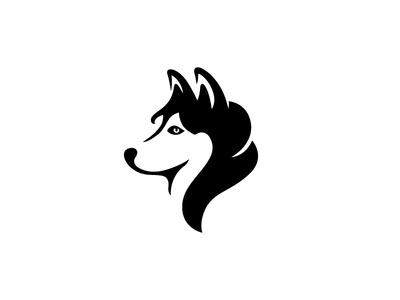Husky husky negative space dog animal symbol mark logo