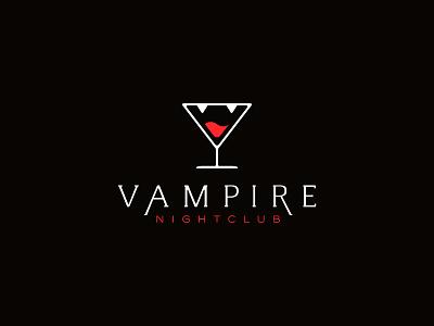 Vampire Nightclub glass cocktail teeth blood vampire club nightclub bar symbol mark logo