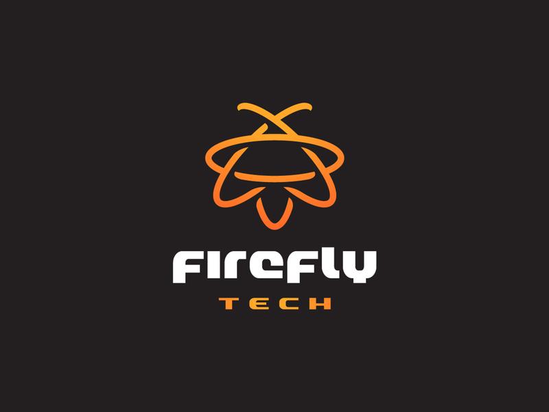 Firefly Atom science monoline atom bug firefly identity branding animal mark symbol logo