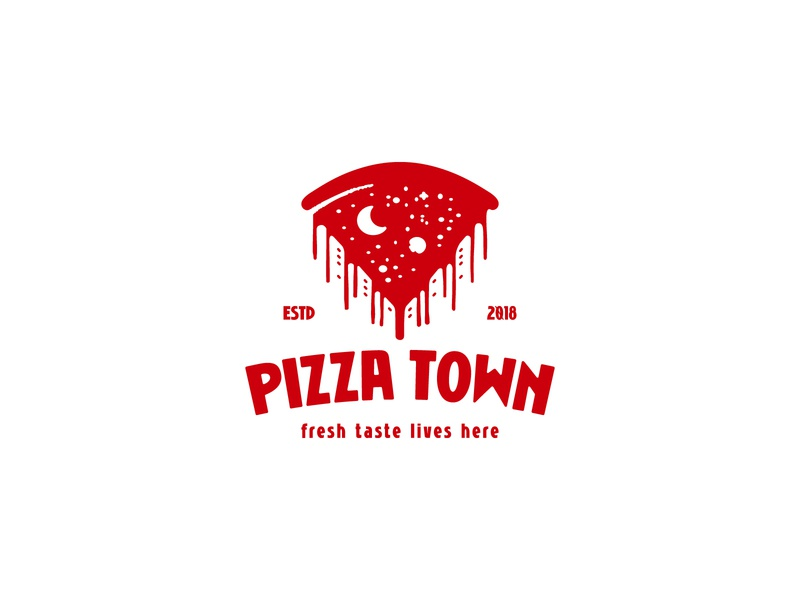 Pizza Town negativespacelogo sky night buildings city town pizza negative space identity branding mark symbol logo