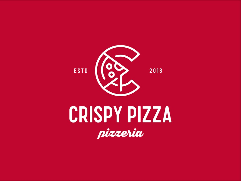 Crispy Pizza monoline food pizza identity branding mark symbol logo