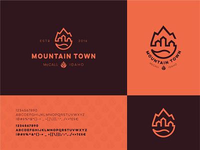 Mountain Town pine cone water river nature ski town mountain identity branding mark symbol logo