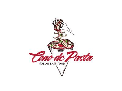 Cono de Pasta drawing fast food restaraunt food italian restaurant italian food pasta illustration identity branding mark symbol logo