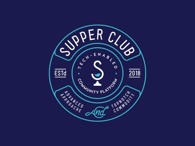 Supper Club brand people party event glass food drink identity branding mark symbol logo