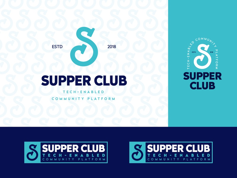 Supper Club party party event event agency event drink food and drink food monogram identity branding mark symbol logo