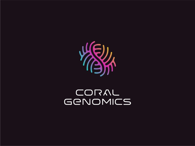 Custom logotype and mark for innovative biotech startup dnahelix genomics genome helix dna coral identity branding mark symbol logo