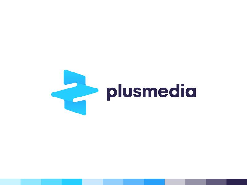 plusmedia plus media geometic negative space identity branding mark symbol logo