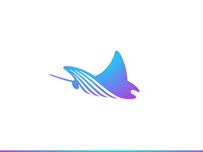 Manta water ocean sea ray fish manta ray manta fish negative space animal identity branding mark symbol logo