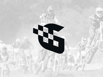 Moto G lettermark casque monogram flag motorcycle motorbike race negative space identity branding mark symbol logo