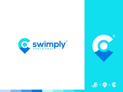 swimply rent location app branding pool swimming pool swimmer swim identity branding mark symbol logo