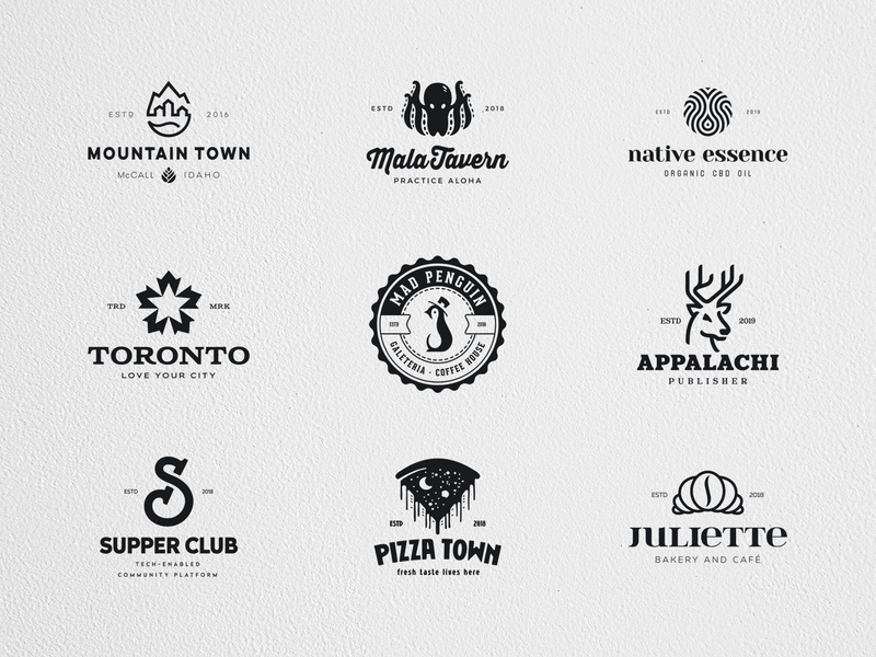 Behance Logo Collection events cafe pizza drink beer cbd oil food mountain negative space identity branding mark symbol logo
