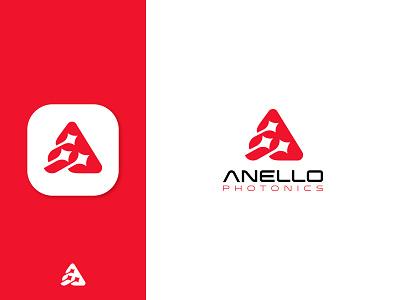 Anello Photonics monogram negative space light lasers fiber optic fiber identity branding mark symbol logo