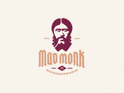 Mad Monk Brewing mad drink brew brewery portrait head monk negative space identity branding mark symbol logo
