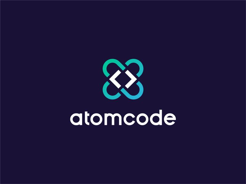 AtomCode orbits brackets technology tech coding code atom identity branding mark symbol logo