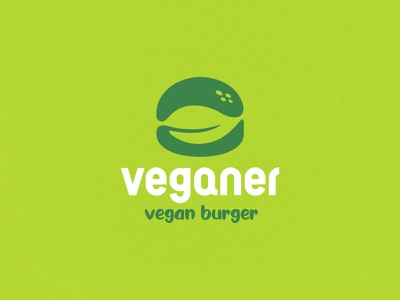 Veganer fast food plant leaf veggies vegetable food and drink burger vegan food negative space identity branding mark symbol logo