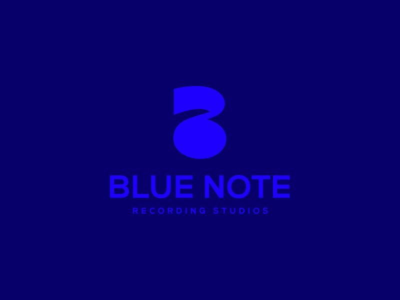 Blue Note monogram recording studios music note identity branding mark symbol logo