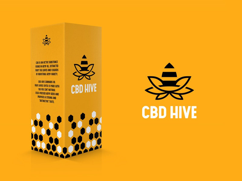 CBD Hive leaf oil marijuana cannabis cbd oil honeycomb honeybee bee animal identity branding mark symbol logo