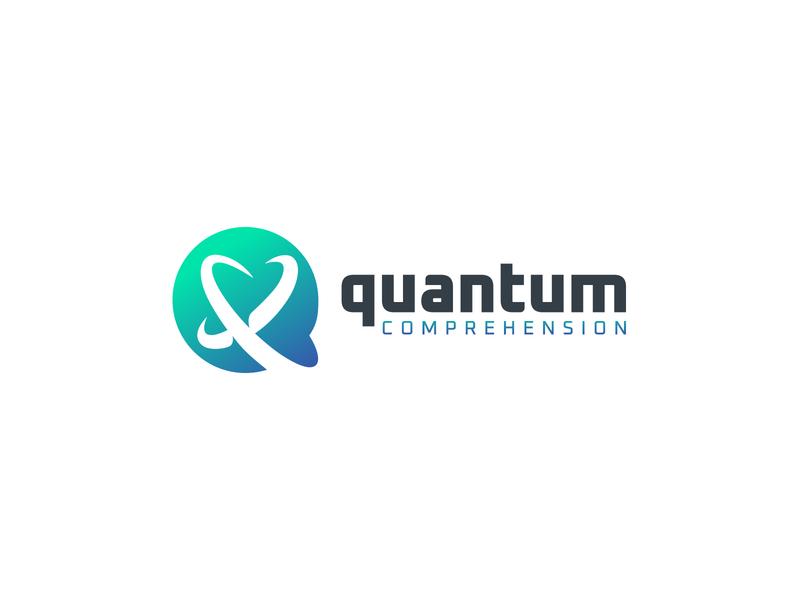 Quantum subatom atom quantum monogram negative space identity branding mark symbol logo
