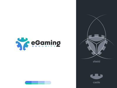 eGaming Security game gaming egaming tower fortress castle shield security identity branding mark symbol logo