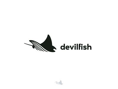devilfish negative space logo water sea ocean manta ray manta ray fish animal negative space identity branding mark symbol logo