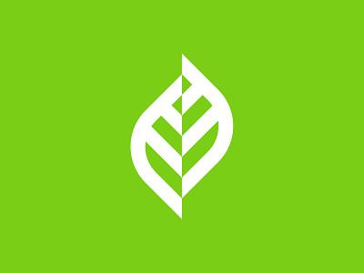 Leaf constructivism nature plant leaf geometry identity branding mark symbol logo