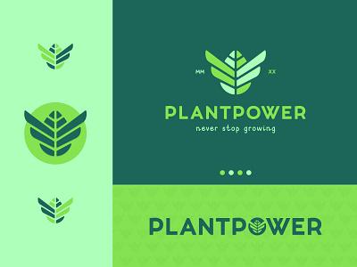 Plantpower green wings leafs plantpower plants plant power leaf identity branding mark symbol logo