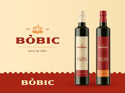Bobic Oils seeds extra virgin bottle pumpkin oil nature identity branding mark symbol logo