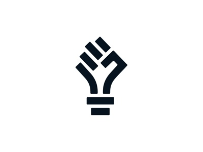 Unleashed geometric creative lightbulb hand fist identity branding mark symbol logo