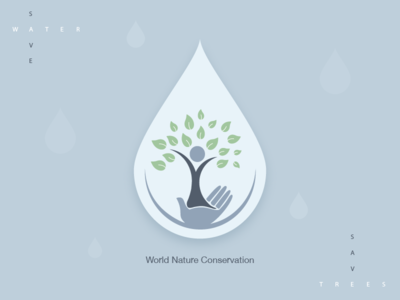 World Nature Conservation drop tree water conservation icons logo designing logo android ios design icon