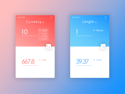 Unit Converter value data exchange colors android ios app length currency converter unit