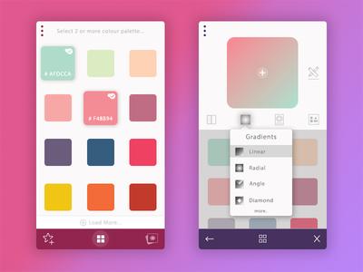 Colour Palette ux ui icon radial linear gradient color palette app iphone android app design