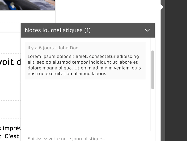 Comment box for a CMS in editor view. ui ux design