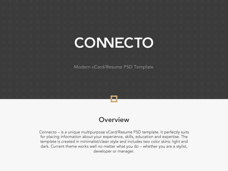 Connecto connecto psd template vcard resume luxury personal presentation