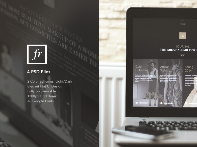 FR – One Page Fashion PSD Template fashion design flat elegant ui luxury portfolio psd template