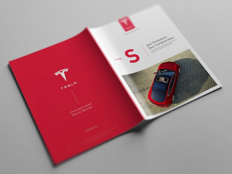 Cover Page tesla editorial design catalog model s catalog