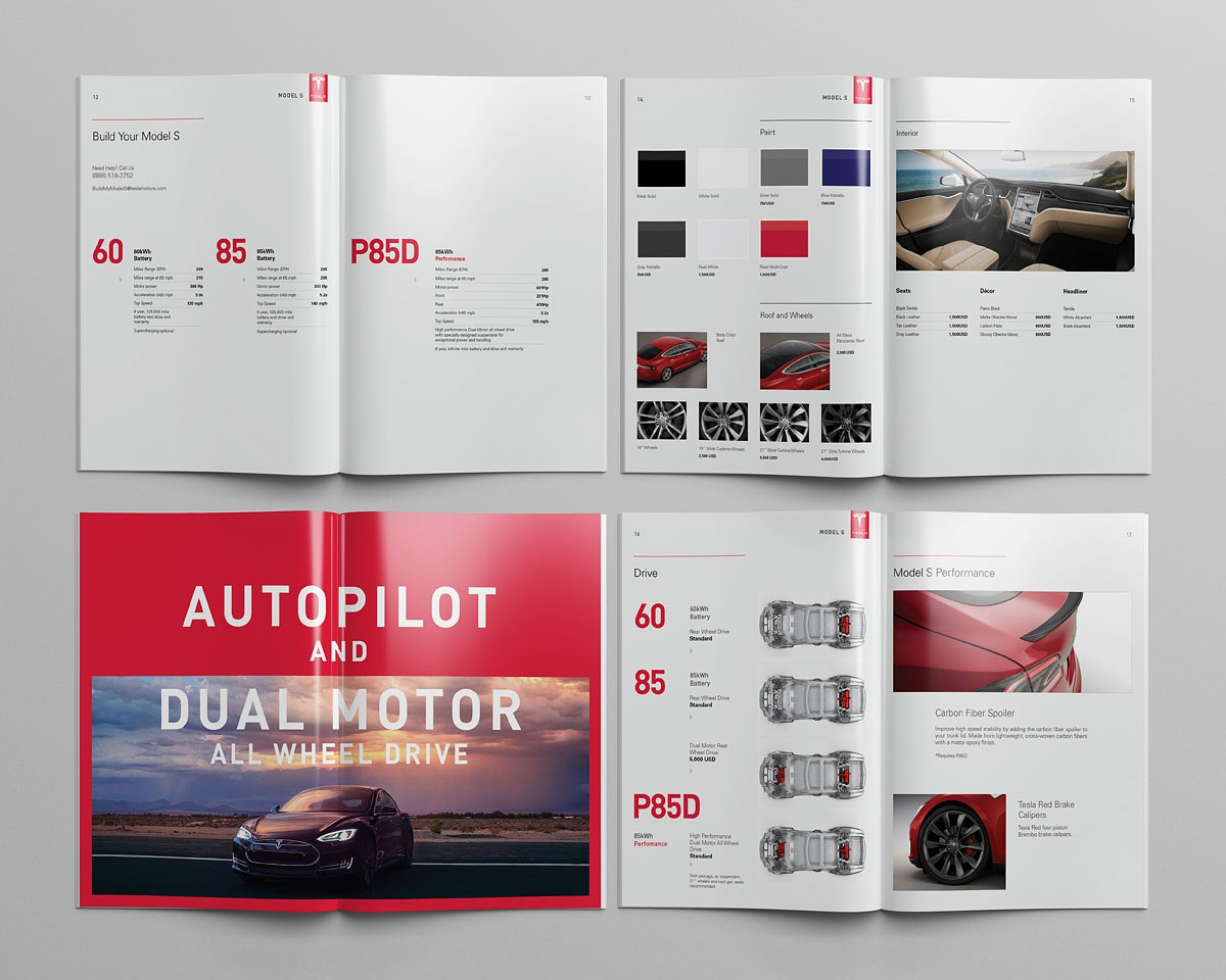 Tesla model s catalog pages