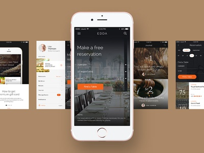 EDDA UI Kit app mobile ios minimal restauraut theme ux ui edda