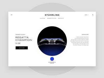 Stuhrling watch product page exploration light typography minimal product exploration ux ui stuhrling watch