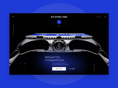 Stuhrling Watches Product Page Exploration light typography minimal product exploration ux ui stuhrling watch